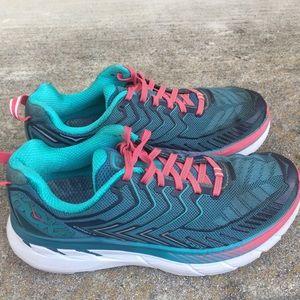 VGC Hoka One One Clipton 4 Teal Blue Pink Run Shoe